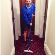 Peter with carpet rake